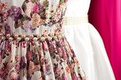 foto of dress mannequin  - Fashion beautiful dress on a mannequin and hangers - JPG
