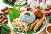 picture of nasi  - Nasi kerabu or nasi ulam - JPG