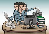 picture of scribes  - a girl in the office is working hard at his desk - JPG