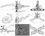 stock photo of music note  - Set of nine vector musical notes staff - JPG