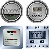 foto of electricity meter  - different types of old and new electric meters - JPG