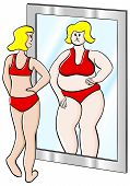 stock photo of anorexic  - vector illustration of a thick thin woman looks in the mirror - JPG