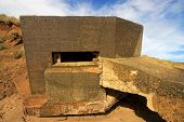 stock photo of emplacements  - ruins of a world war 2 gun emplacement - JPG