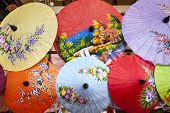 Close up of colorful umbrellas.