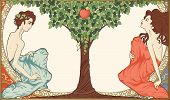 image of tree snake  - Detailed vector illustration on religious theme showing Adam and Eve sitting in Eden near apple - JPG