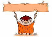 stock photo of caveman  - Cartoon caveman with blank banner on a white background - JPG