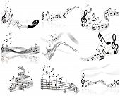 stock photo of musical note  - Set of nine vector musical notes staff - JPG
