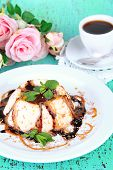 image of panna  - Panna Cotta with chocolate  and caramel sauces - JPG