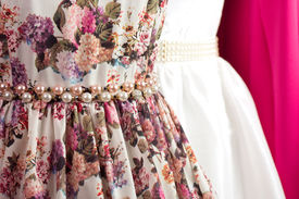 stock photo of dress mannequin  - Fashion beautiful dress on a mannequin and hangers - JPG