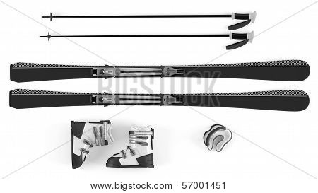 Ski, sticks, mask items isolated