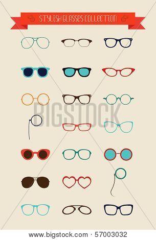 Hipster Retro Vintage Glasses Icon Set Illustartion Colorful