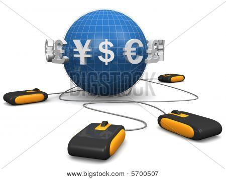 E-commerces Shopping Online By International Currency Concept