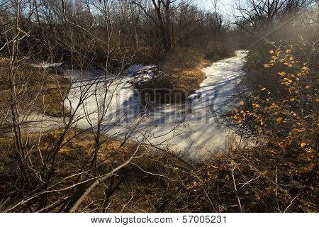 bend in Sand Creek, winter