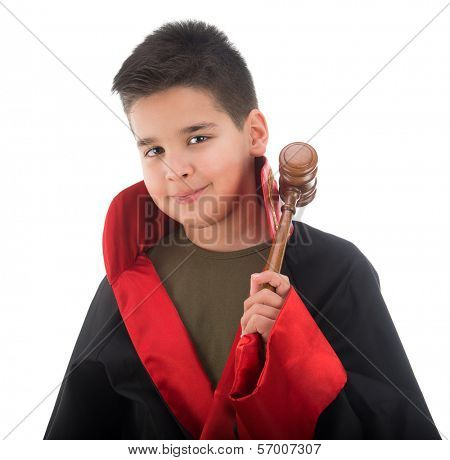 Child judge with judge hammer isolated on white background