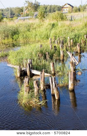 Old  Bridge's Ruins, Logs In Water (2)