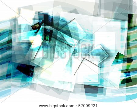 Abstract Blue Geometrical Background With Moving Squares. Eps10