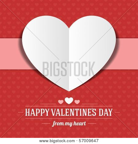 Heart from paper Valentine's day card vector background