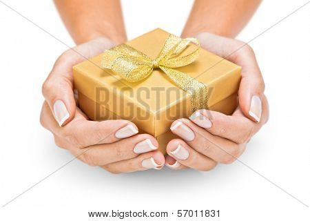 Hands holding beautiful gift box, female giving gift