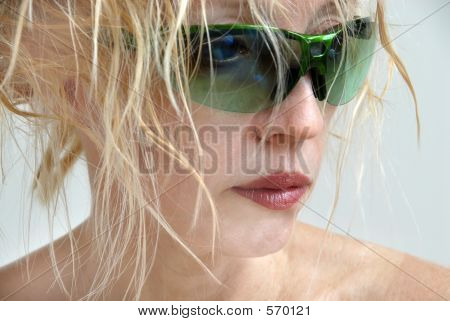 Woman In Green Sunglasses