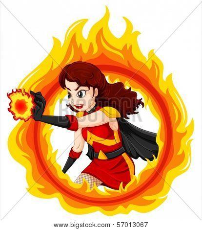 Illustration of a flaming female superhero on a white background