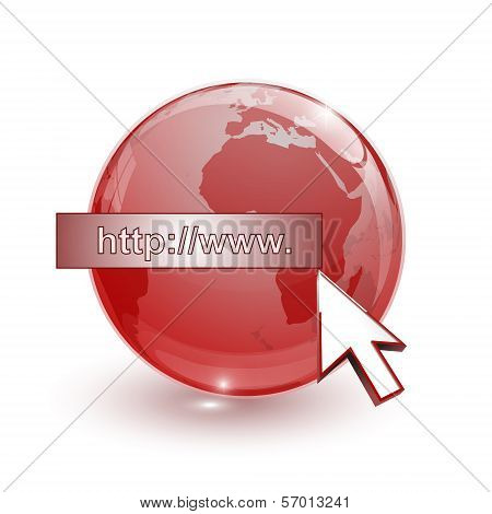Glass Globe Earth Map 3D Red And Cursor With Internet Address