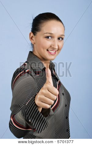Portrait Of Young Businesswoman Give Thumb Up