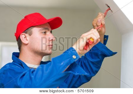 Electrician Installing Lights