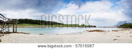 Panoramic Shot Of Norwegian Seaside During Lowtide