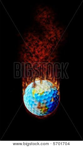 Burning Golf Ball Globe
