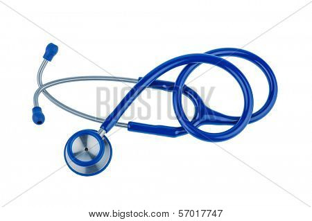 a blue stethoscope lying on a white background.