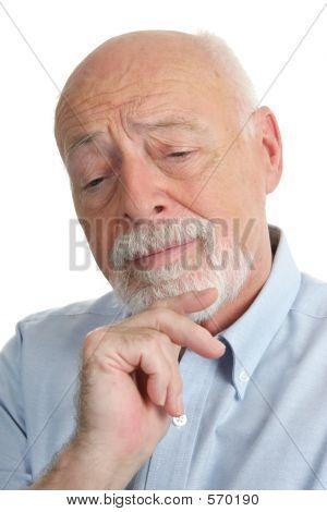 Senior Man Thinks It Over