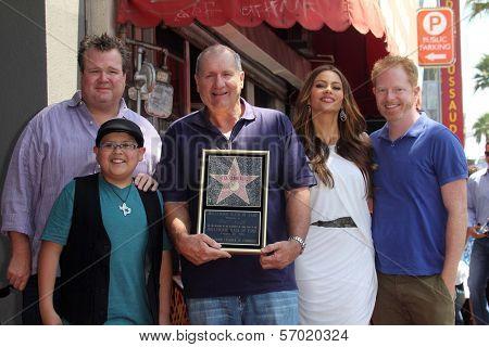 Eric Stonestreet, Rico Rodriguez, Ed O'Neill, Sofia Vergara, and Jesse Tyler Ferguson at the Ed O'Neill Hollywood Walk Of Fame Induction Ceremony, Hollywood, CA. 08-30-11