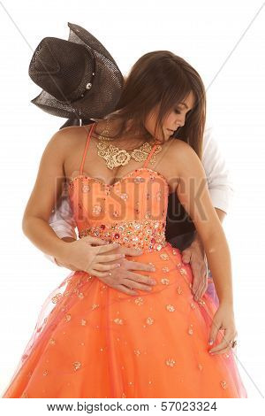 Cowboy Woman Orange Dress Look Down