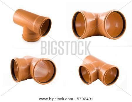 Two Plastic T-branch Sewer Pipes Isolated Over White