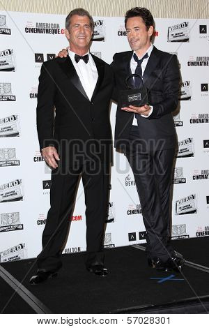 Mel Gibson, Robert Downey Jr. at the American Cinematheque Honors Robert Downey Jr., Beverly Hilton, Beverly Hills, CA 10-14-11