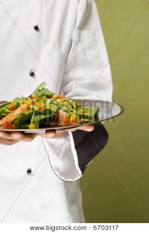 Chef Presenting Healthy Chicken Salad