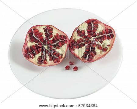 Pomegranate On A Plate, Cut In Half