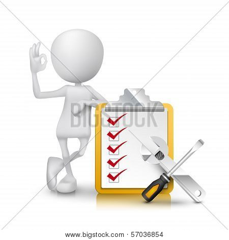 3D Man Showing Okay Hand Sign With Checklist And Tools