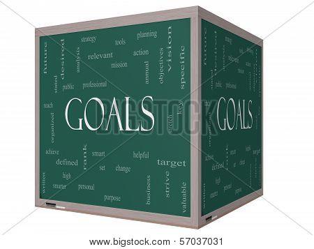 Goals Word Cloud Concept On A 3D Cube Blackboard