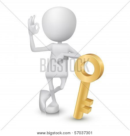 3D Man Showing Okay Hand Sign With A Golden Key