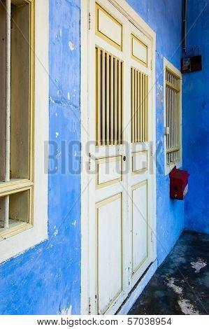 Blue Painted Shophouse Facade