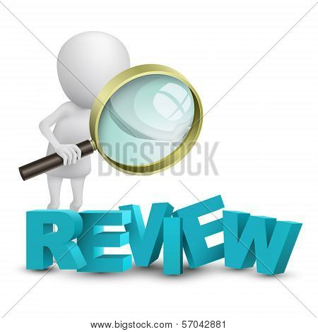 "3D Person Watching A Word ""review"" With A Magnifying Glass"
