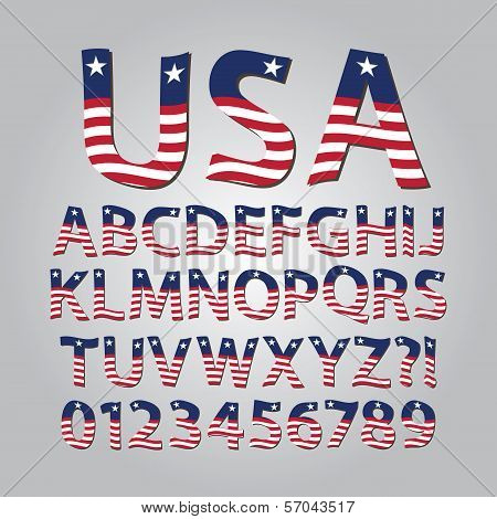 Flag Of United States Alphabet And Digit Vector