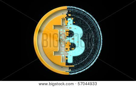 Bit Coin Metal And Digital Concept