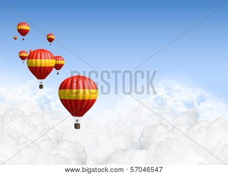 Hot Air Balloons Above The Clouds