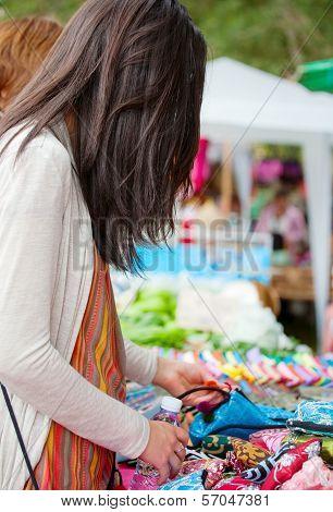 Teen Girl Shopping Outdoor Bazaar In Thailand