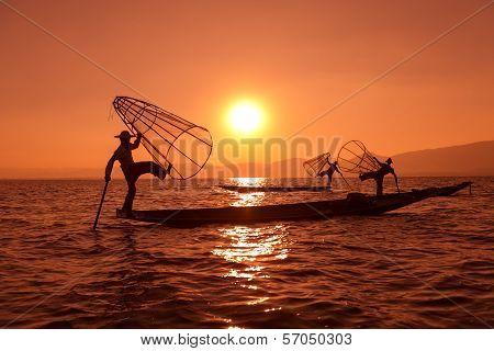 Traditional Fishing By Net In Burma