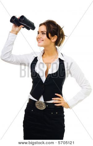 Woman In Formal Clothes Standing And Looking Into Binocular
