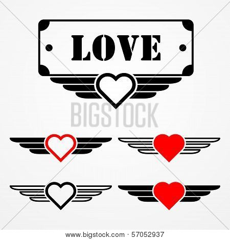 Military style love emblems