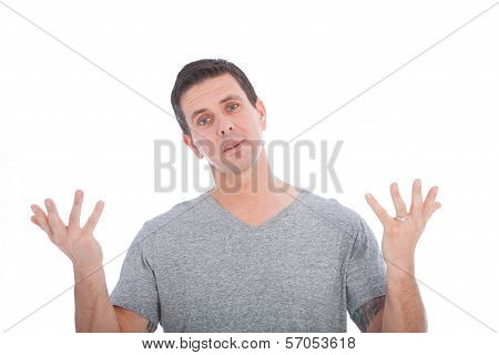 Confused Man Raising His Upturned Palms